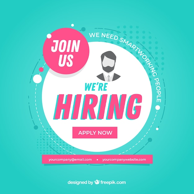 Modern job vacancy composition with flat design Free Vector