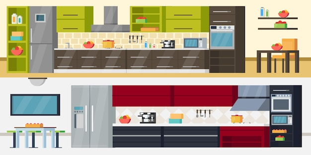 Modern kitchen horizontal banners Free Vector