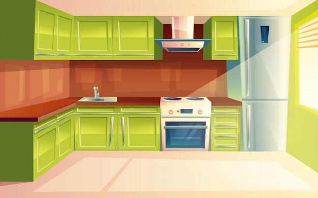 Modern kitchen interior background template. Premium Vector