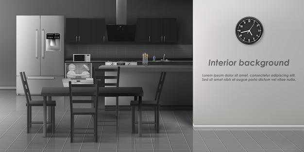 Modern kitchen interior background Free Vector