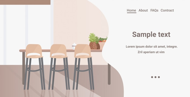 Современная кухня интерьер пусто нет людей дом комната с мебелью горизонтальное копирование пространство Premium векторы
