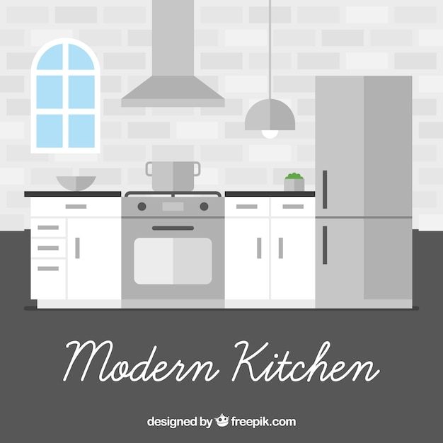Modern Kitchen Interior In Flat Design Vector Free Download
