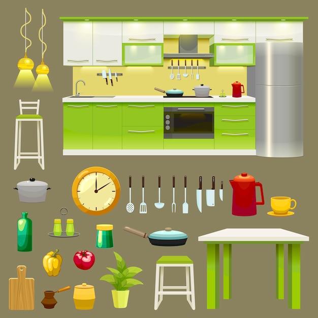 モダンなキッチンインテリアのアイコンを設定 無料ベクター