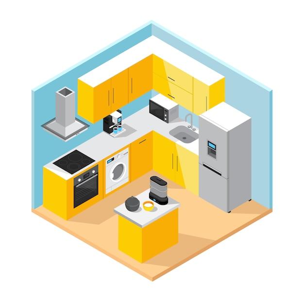 Modern kitchen interior isometric concept Free Vector