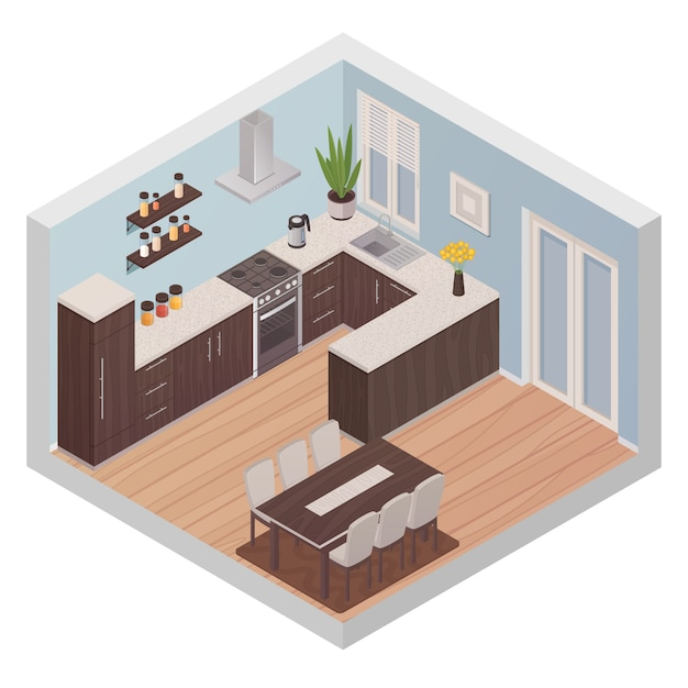 Modern kitchen interior isometric design concept with cooking zone and dining zone for six persons f Free Vector