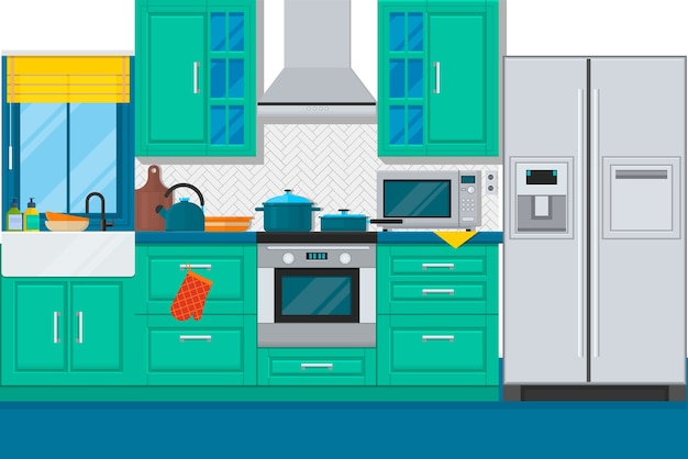 Modern kitchen interior with furniture and cooking devices. flat vector illustration Premium Vector