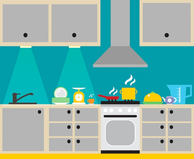 Modern kitchen interior with furniture and household equipment poster vector illustration Free Vector