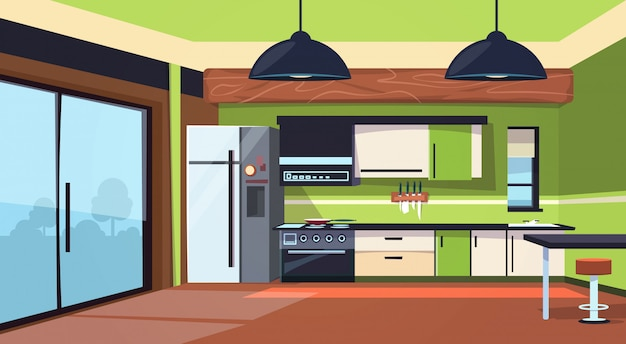 Modern kitchen interior with stove, fridge and cooking appliances Premium Vector