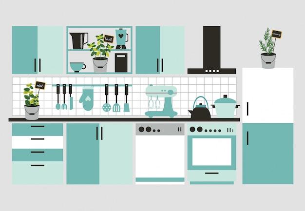 Modern kitchen interior. Premium Vector