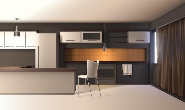 Modern kitchen realistic interior Free Vector