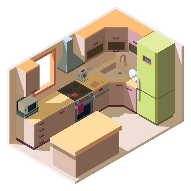 Interiore della stanza cucina moderna con mobili ed elettrodomestici in stile isometrico Vettore gratuito