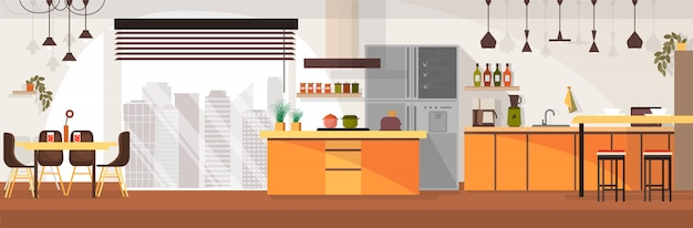 Modern kitchen Premium Vector