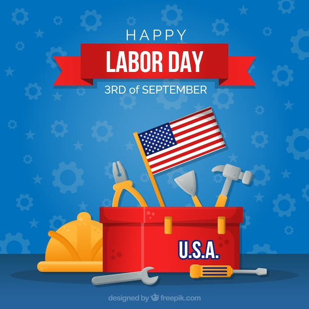 Modern labor day composition with flat design Free Vector