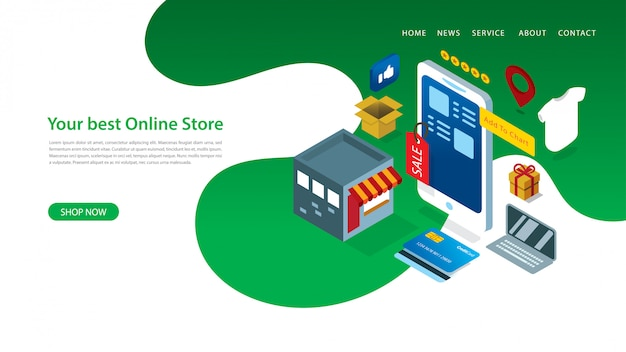 Modern landing page design template with vector illustration of online shop with some elements Premium Vector