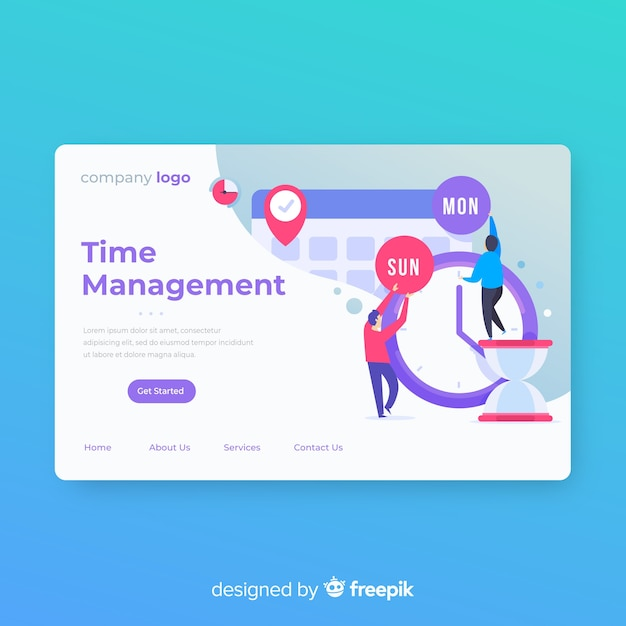 Modern landing page template in flat design Free Vector