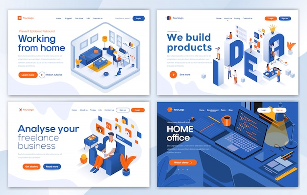 Modern  of landing page template - working from home set Premium Vector