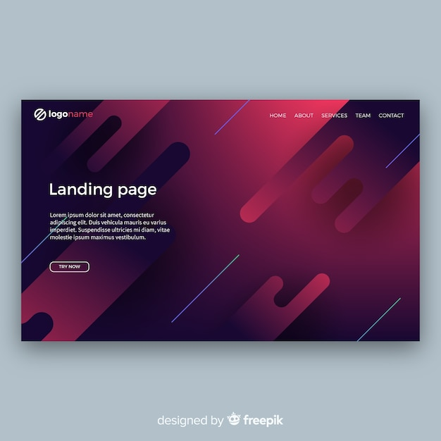 Modern landing page with abstract design Free Vector