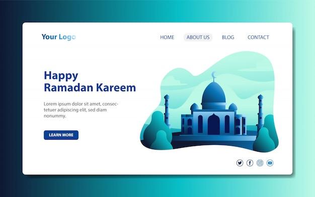 ラマダンとイードの幸せを歓迎するためのモスクのイラストを含む最新のランディングページ Premiumベクター