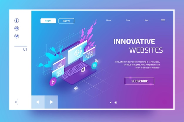 Modern landing page with isometric laptop Free Vector