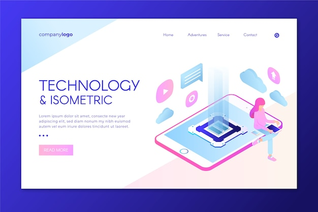 Modern landing page with isometric tablet Free Vector
