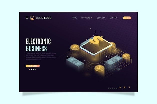 Modern landing page with isometric technology Free Vector