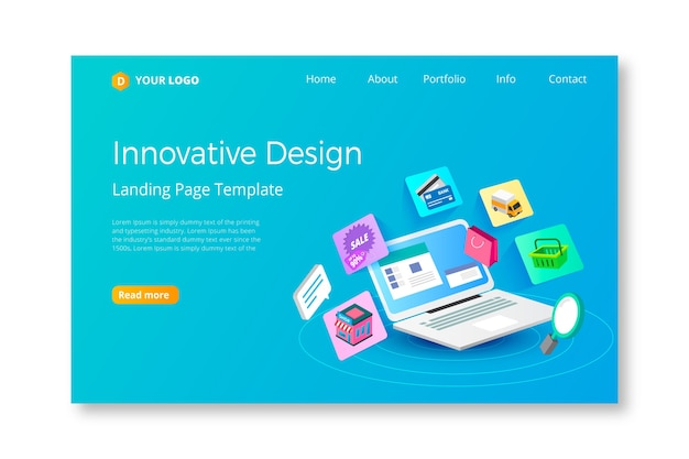 Modern landing page with laptop Free Vector
