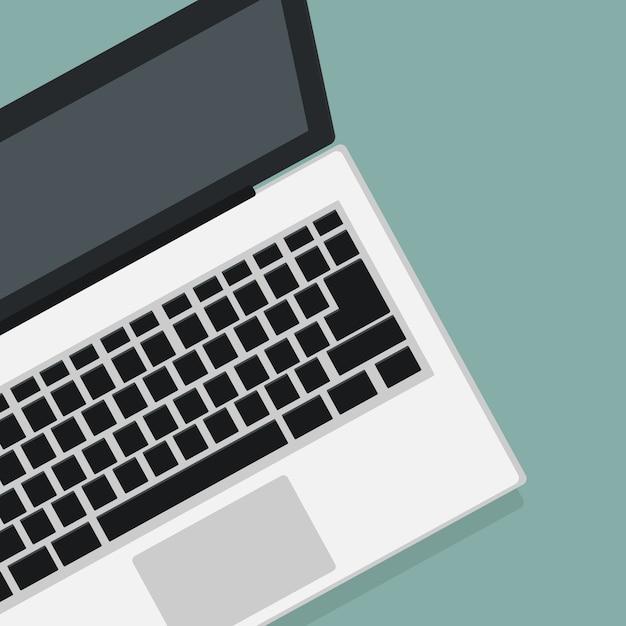 Modern laptop design in top view Premium Vector