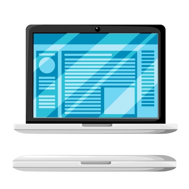 現代のラップトップの開閉バリエーション。ディスプレイ上のウェブサイトまたはドキュメント。光沢のあるディスプレイカバー。白い背景のイラスト。 Premiumベクター