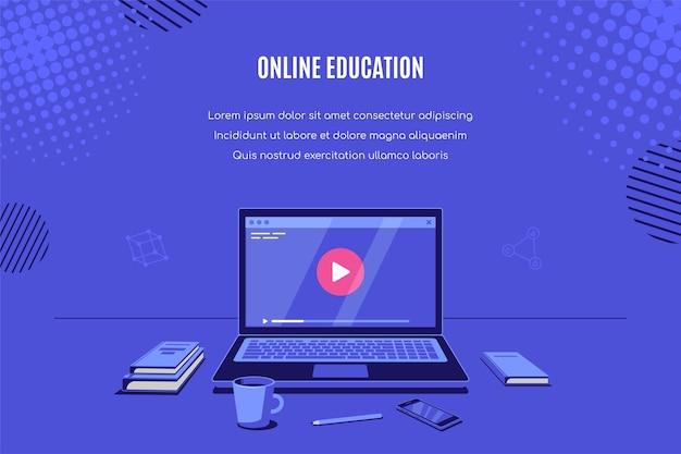 Современный ноутбук с онлайн-видеоплеером на экране. онлайн-вебинар, видеоурок, онлайн-обучение. иллюстрация. Premium векторы