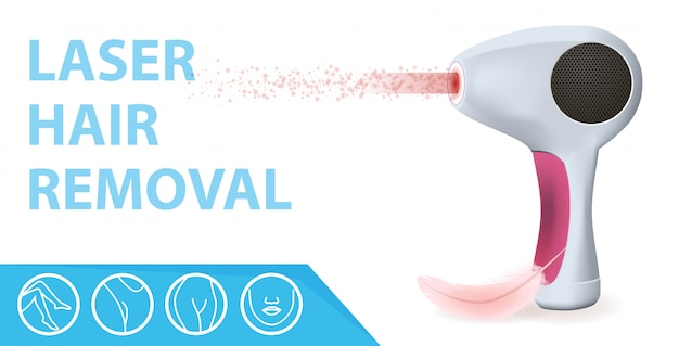 Modern laser epilator with ray, feather and icons Premium Vector