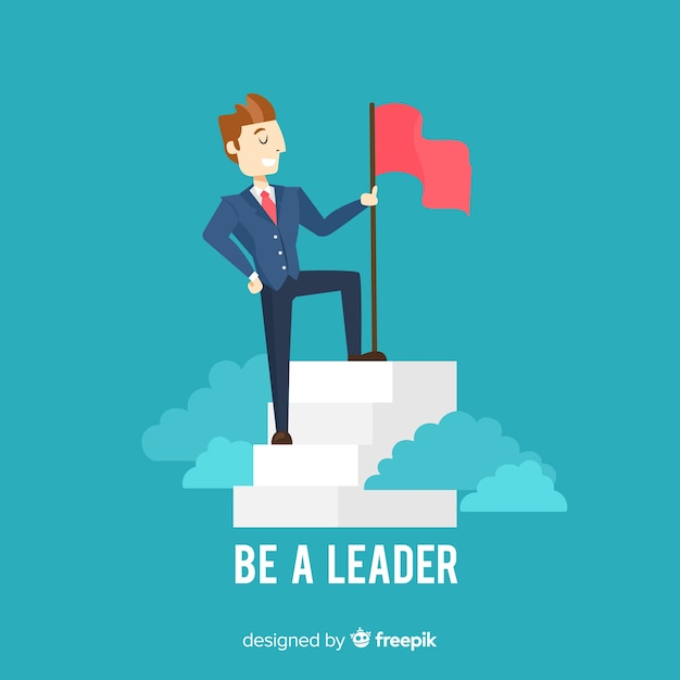 Modern leadership composition with flat design Free Vector