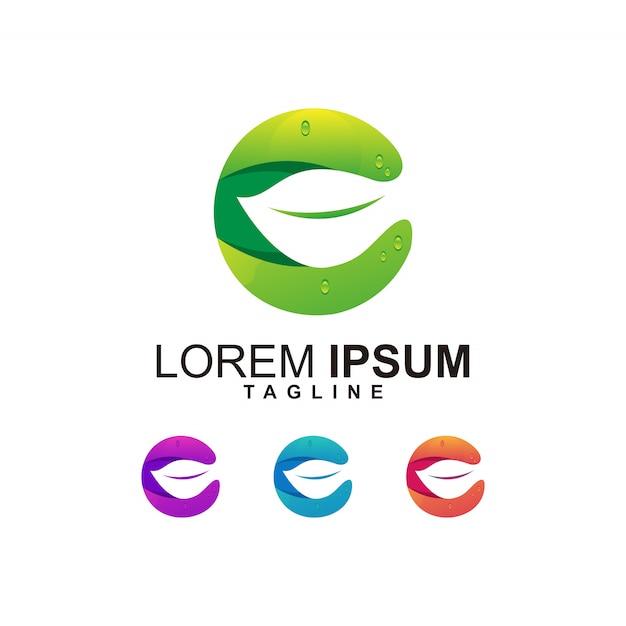 Modern leaf with letter c logo design Premium Vector