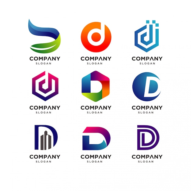 Modern letter d logo design collection Premium Vector