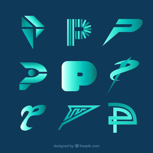 Modern letter p logo collecti Free Vector