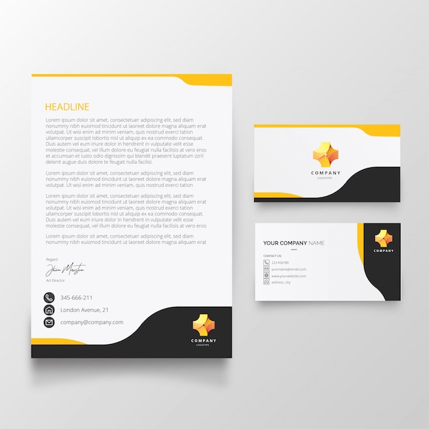 Modern letterhead and business card template Free Vector