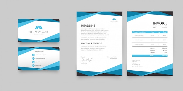 Modern letterhead stationery pack with blue shapes Free Vector