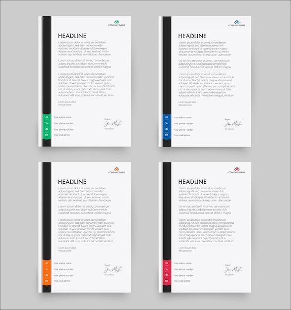 Letterhead Template In Flat Style: Modern Letterhead Template In Flat Style Pack Vector