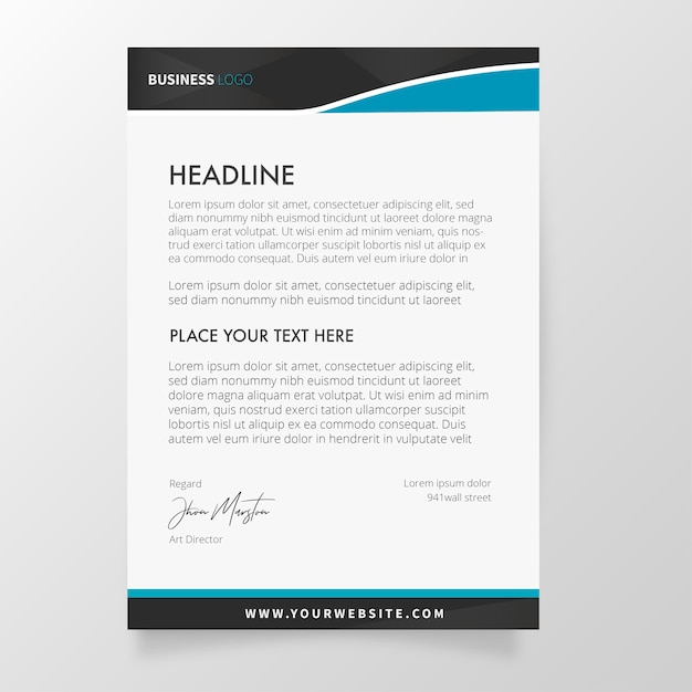 Modern letterhead with abstract shapes Free Vector