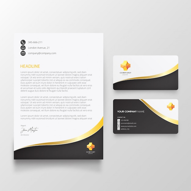 Modern letterhead with elegant shapes Free Vector