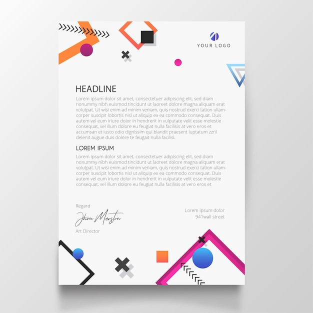 photo regarding Easter Bunny Letterhead referred to as Revolutionary letterhead with memphis style aspects Vector Totally free
