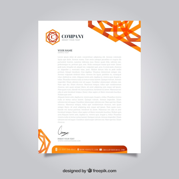 Modern letterhead with orange abstract shapes