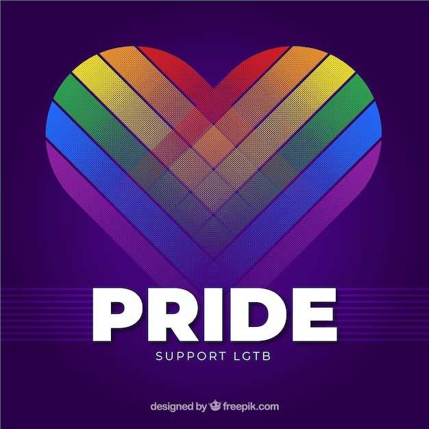Modern lgtb pride background with heart Free Vector