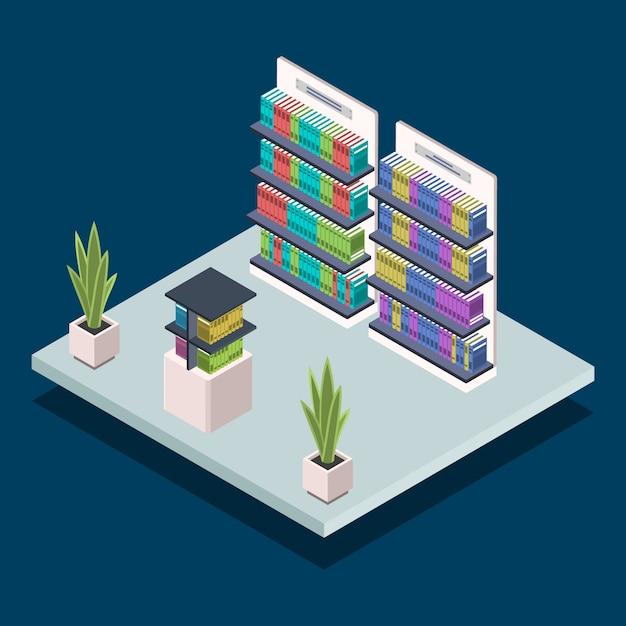 現代図書館の本棚カラーイラスト。書店の家具。棚の教科書。公共図書室のインテリア、青の背景に本棚のコンセプト Premiumベクター