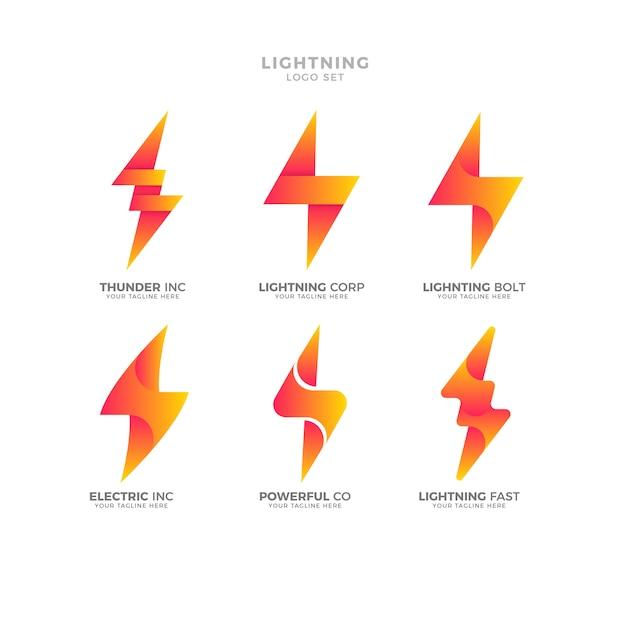 Modern lightning logo collection Vector | Premium Download
