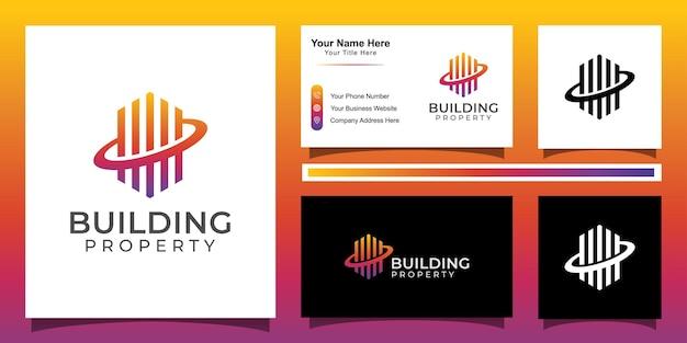 Modern line art building property logo, apartment, real estate, hotel. fin tech logo Premium Vector