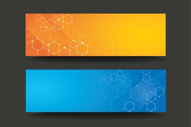 Modern line hexagon template banner background   Premium ...