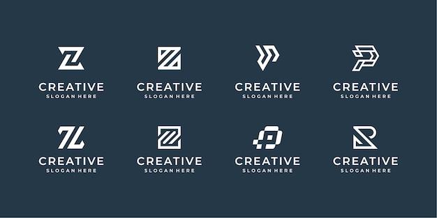モダンなラインロゴセット。文字p、r、zのクリエイティブなモノグラムコレクション Premiumベクター