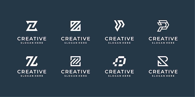 Modern line logo set. creative monogram collection with letter p, r and z Premium Vector