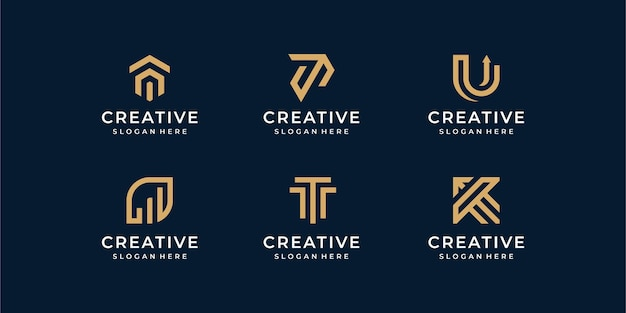 Modern line logo set. creative monogram collection with letter u and t Premium Vector