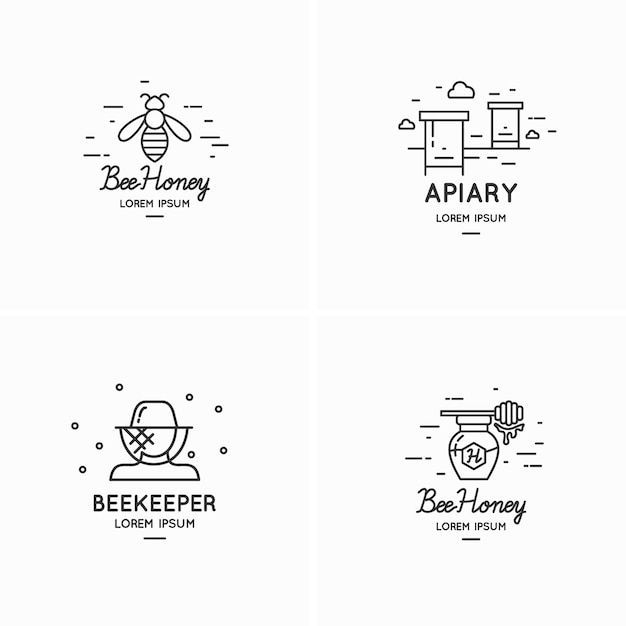 Современные линейные логотипы для иллюстрации пчеловодов Premium векторы